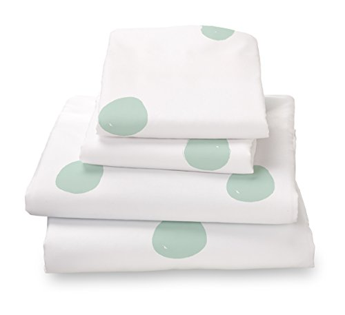 (Seafoam Green Polka Dot Twin Size Sheet Set, Soft Sheets for Deep Mattresses, 3 Piece Twin Size Set in White and Mint)