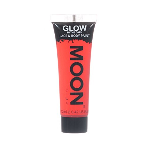 Moon Glow – Glow in the Dark Face & Body Paint - 0.42oz Red – Phosphorescent - Charge to Glow -