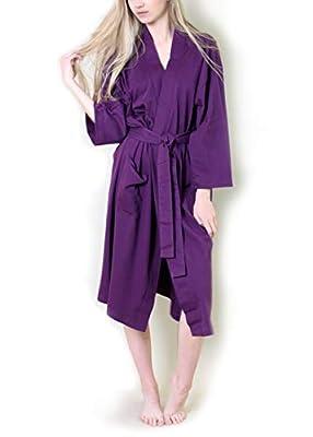 Viverano 100% Organic Cotton Spa Bath Robe Kimono, Super Soft Luxurious Lightweight Non-Toxic Eco-Friendly (L/XL, Purple)