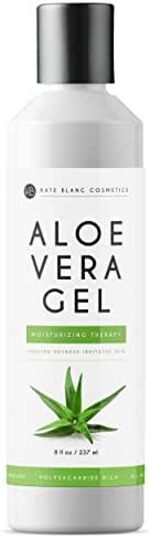 Aloe Vera Gel from Freshly Cut Organic Pure Aloe Plant by Kate Blanc. Great for Hair and Face. Relieves Sunburn, Dry Scalp, Irritated Skin with No Sticky Residue. DIY Hand Sanitizers (8 oz)