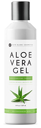 Aloe Vera Gel from Freshly Cut Organic Pure Aloe Plant by Kate Blanc. Great for Hair and Face. Relieves Sunburn, Dry Scalp, Irritated Skin with No Sticky Residue. DIY Hand Sanitizers (8 oz) ()