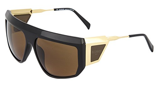 BALMAIN Black Gold Brown Square Runway Aviator Limited Sunglasses BL 2091 - Balmain Sunglasses Mens