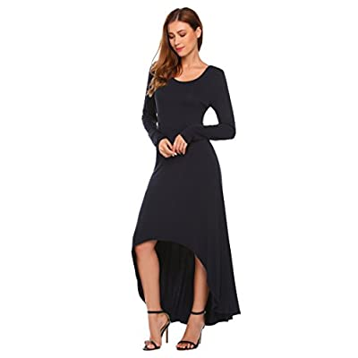 Discount Zeagoo Women's Casual Hi Low Long Maxi Dress Long Sleeve Loose Swing Dress