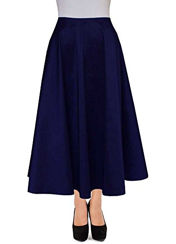 E K Women's ankle length taffeta skirt Long evening formal prom party skirt-m-Navy Blue-und by E K