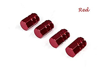 Niome 4x Tire Caps Car Truck Motorcycle Bike Wheel Tire Tyre Dust Valve Stem Decoration Cover Red