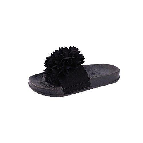 Inch 1/2 4 Boot Knee (DENER Women Girls Ladies Summer Flat Slippers Moccasins,Flower Platform Low Heels Open Toe Indoor Outdoor House Beach Sandals (Black, 42))