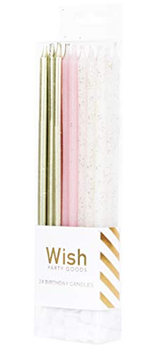 24 Count Extra Long Thin Candles with Holders for Parties, Birthday, Cakes, Cupcakes - Gold, Pink, Gold Glitter Variety Pack