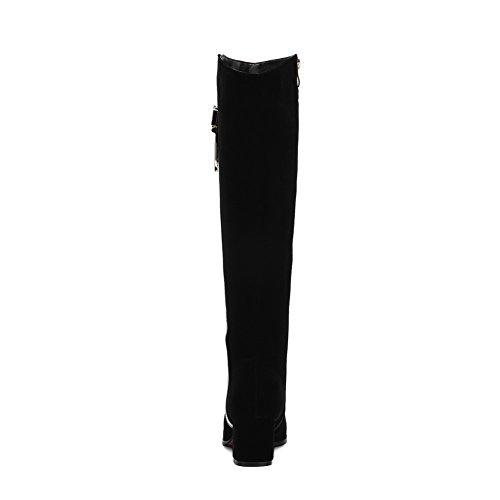 Allhqfashion Women's Kitten Heels Frosted High Top Assorted Color Zipper Boots Black 927kBo