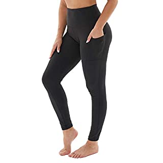 HLTPRO Printed Yoga Leggings with Pockets for Women - High Waist Tummy Control Running Workout Yoga Pants Black