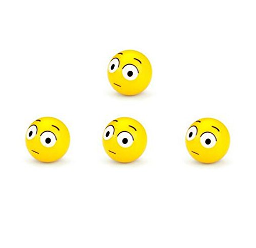 Lexitek 4pcs/Set Mini Emoticon Car Tire Caps Plastic Round Smile Ball Face Expression Shape Auto Wheel Tyre Air Valve Dust Covers (Scowl) ()