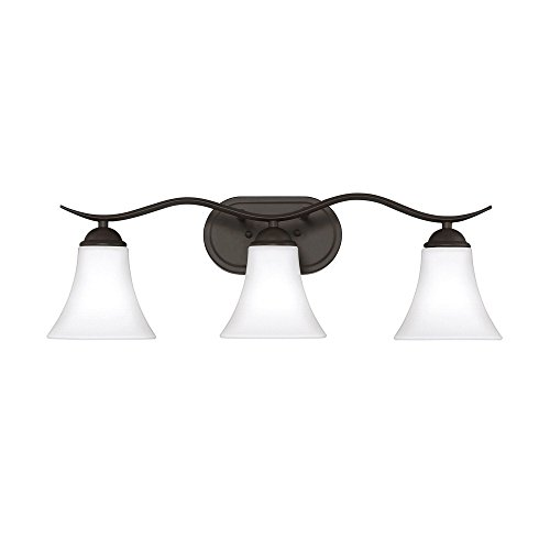 Quoizel Lighting KGF8603OZ Kingfield - Three Light Bath Vanity, Old Bronze Finish with Etched/White Glass ()