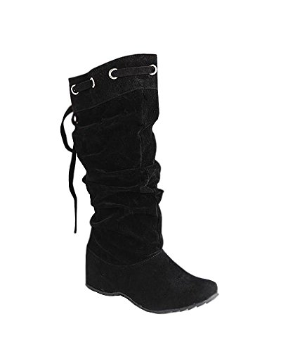 Maybest Women 4 Color New Fashion Half Boots Winter Footwear Wedge Low Heel Snow Warm Shoes Black lEUuOHrhnW