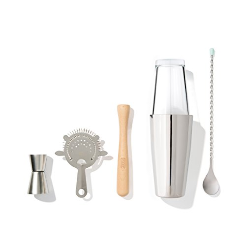 - MAKO Bar Essentials Set with Boston Shaker, Stir Stick, Jigger, Muddler & Strainer