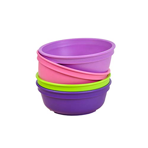 Re-Play Made in The USA 4pk Bowls for Easy Baby, Toddler, and Child Feeding - Purple, Bright Pink, Lime, Amethyst (Butterfly+)