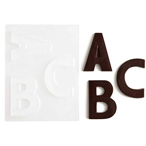 "Large Block Letters Chocolate Candy Molds - A - Z (8) 4"" Letter Alphabet Set (Cakegirls Chocolate Mold Instructions Included)"