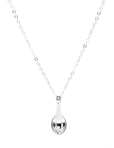 "Paialco 925 Sterling Silver Mini Spoon Pendant Necklace Cute Charm 18"" Chain"