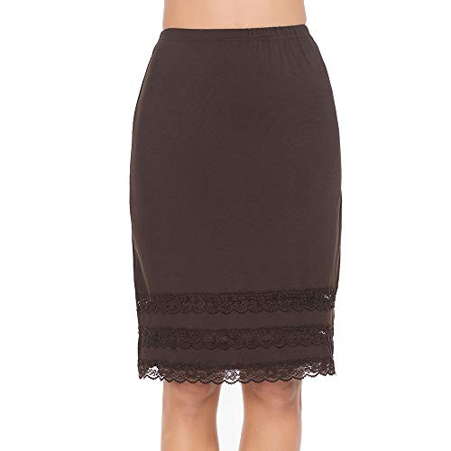 Half Slips for Women Underskirt Dress Extender Lace Trim Knee Length Midi Skirt Coffee X-Large
