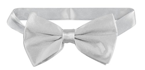 (100% SILK Grey BOWTIE Solid SILVER GRAY Color Men's Bow Tie for Tuxedo or Suit )
