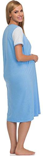 Be Mammy Premamá Camisón para Mujer BE20-103 Azul/Blanco