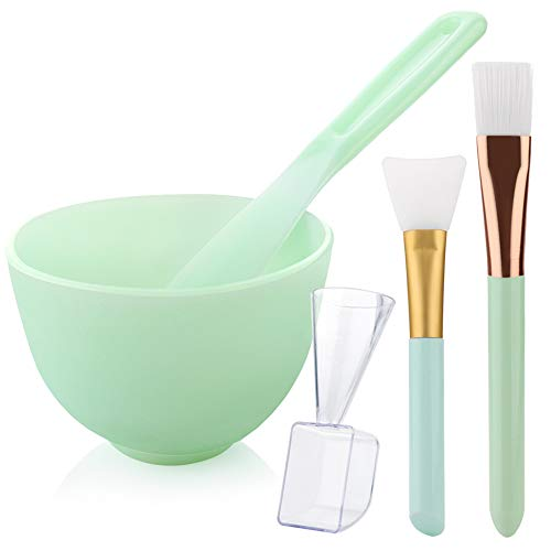 Brush Mask Application ([NO Plastics] Hekoy DIY Silicone Mask Mixing Bowl Set Face Mask Brush Mask Bowl Mud Clay Mask Applicator Brush Spatula Liquid Powder Measuring Cup 5 in 1)