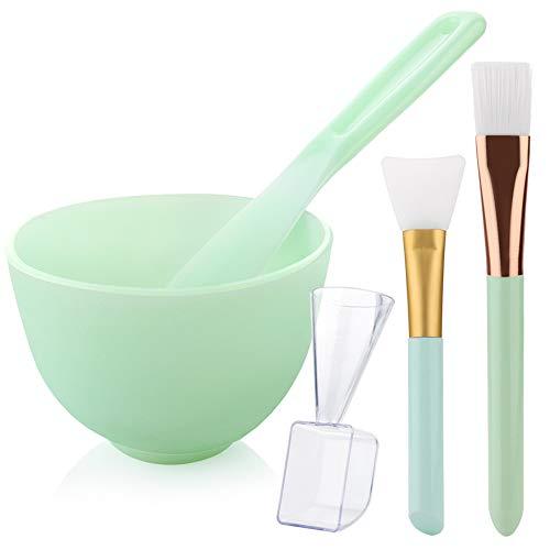[NO Plastics] Hekoy DIY Silicone Mask Mixing Bowl Set Face Mask Brush Mask Bowl Mud Clay Mask Applicator Brush Spatula Liquid Powder Measuring Cup 5 in 1