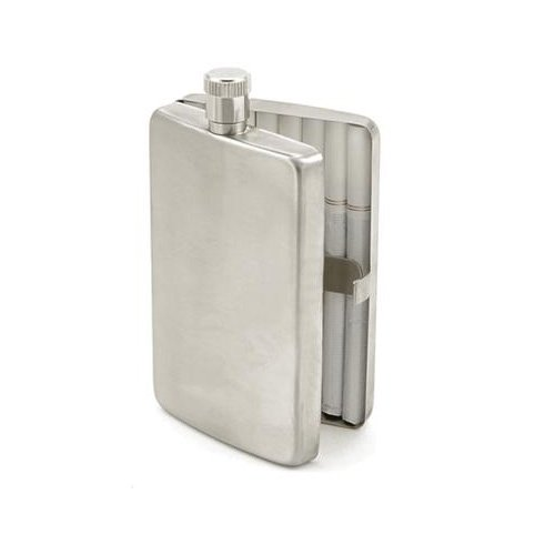 Trick Stainless Steel 2oz Flask with Built-In Cigarette Case