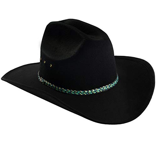 Funny Party Hats Black Cowboy Hat – Faux Felt Western Hat – Wide Brim Cowboy Hat – Country Cowboy Hat ()