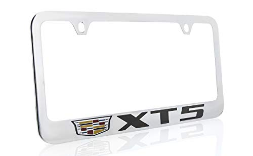 (Cadillac XT5 Brass License Plate Frame with Chrome Finish (2 Hole))