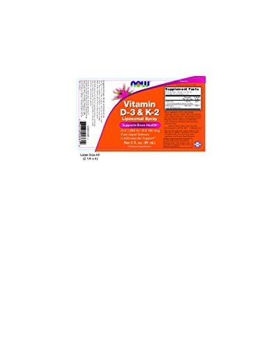 Now Foods Vitamin D-3 & K-2 Liposomal Spray, 2 oz 1000 IU/100 mcg (Pack of 2)