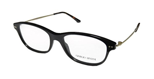 Giorgio Armani 7007 Womens/Ladies Designer Full-rim Titanium Eyeglasses/Glasses (52-16-135, Black / Antique Gold)