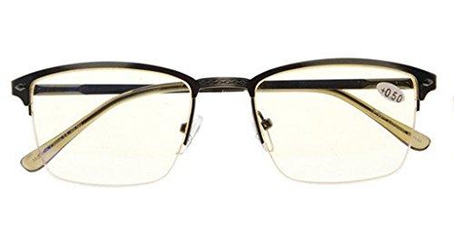 UV Protection,Reduce Eyestrain,Blue Light and Glare Blocking,Half-rim Computer Reading Glasses(Gunmetal,Amber Tinted Lenses) +0.75 ()