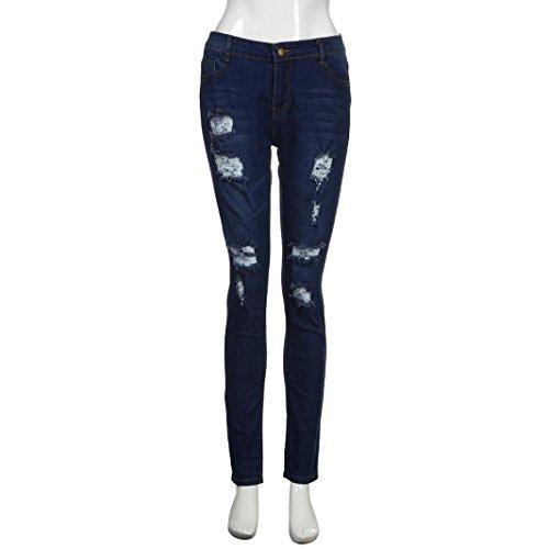 Moyenne Slim Haute Taille Femmes Pantalons Mode Trous Skinny Crayon Stretch Jeans Pantalon Adeshop Ripped Casual Bleu 7azpq0pw