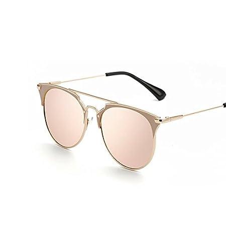 Tocoss (TM) Rétro rond œil de chat Lunettes de soleil Homme Femme Designer Eyewear Cadre métallique UV400Lunettes de soleil femelle Oculos de sol lunette de soleil, Silver Silver
