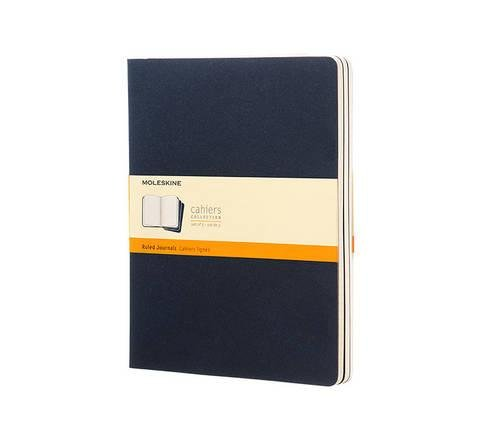 Moleskine Ruled Cahier Journal X-Large, Blue, Set of 3 (Cahier Journals)