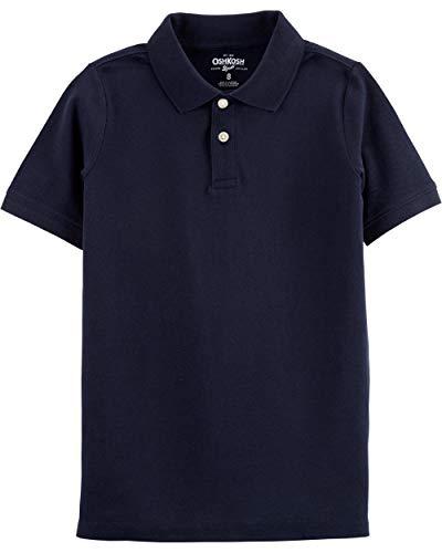 (Osh Kosh Boys' Little Short Sleeve Uniform Polo, Deep Navy, 14)