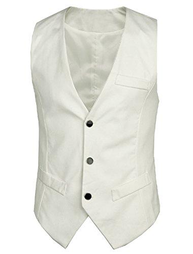 Men Deep V Neck Pockets Decor New Style Vest White M