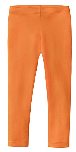 City Threads Girls' Leggings 100% Cotton for School Uniform Sports Coverage or Play Perfect for Sensitive Skin or SPD Sensory Friendly Clothing, Orange, 8 -