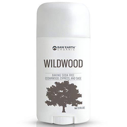 Lemon Sage Organic Deodorant - Raw Earth Organic All Natural Vegan Magnesium Deodorant - Baking Soda & Aluminum Free - Cedarwood / Cypress / Sage (2.5oz)