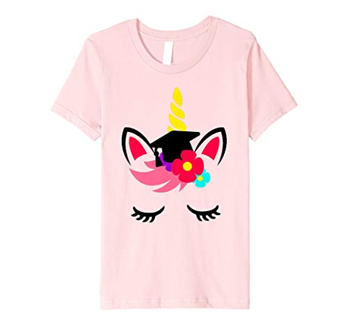 Kids Unicorn Face Graduation Cap Tassel Shirt Cute Gift for Girls ()