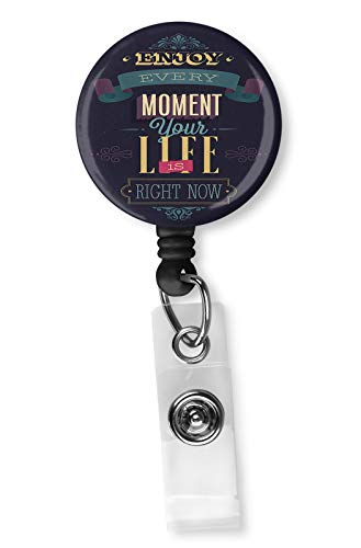 Encourage Quote Badge Reel, Retractable Name Card Badge Holder with Alligator Clip, 24in Nylon Cord, Medical MD RN Nurse Badge ID, Badge Holder, ID Holder, Office Employee Name Badge (Holder Badge Quote)