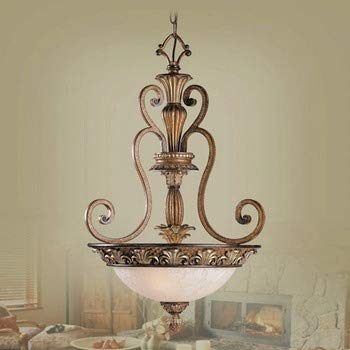 (Livex Lighting 8454-57 Savannah - Three Light Inverted Pendant, Venetian Patina Finish with Vintage Carved Scavo Glass)