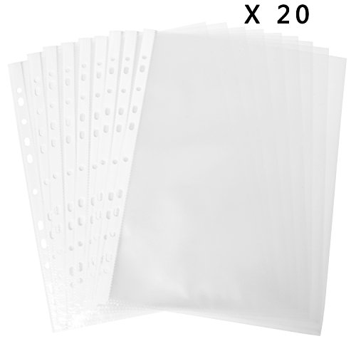 tipurpose 11-Hole Loose Leaf Clear PVC Sheet Protectors - For A4 & Letter- Sized Papers, Documents & Files, Pack of 20 (Size A4 Sheet Paper)