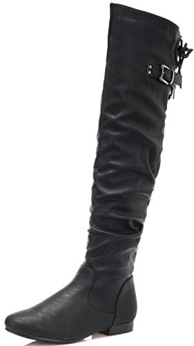 DREAM PAIRS Women's Colby Black Pu Over The Knee Pull On Boots - 10 M US (Over The Knee Wide Calf Boots Size 10)
