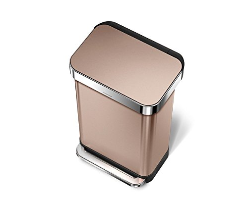 Gold Shiny Finish - simplehuman 45 Liter/12 Gallon Stainless Steel Rectangular Kitchen Step Trash Can with Liner Pocket, Rose Gold Stainless Steel