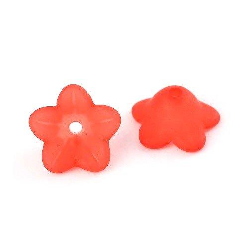 Bulk Buy Offer! 4 Packs 50+ Red Lucite 7 x 13mm Flower Beads BB-HA26710 (Charming Beads)
