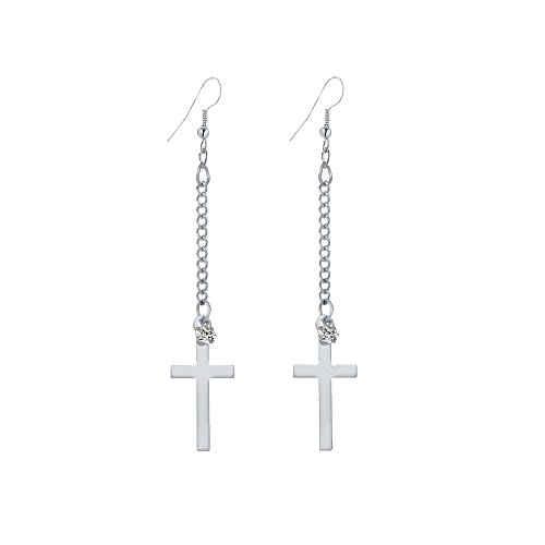 - IDB Dangle Cross Religious Hook Earrings - Available in Silver and Gold Tones (Silver Tone)