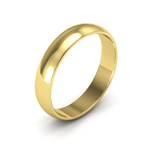 14K Yellow Gold men's and women's plain wedding bands 4mm light half round, 7 by i Wedding Band