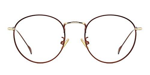 Discount Rimless Eyeglasses - TIJN Women Metal Circle Eyeglasses Fashion Full Rim Round Thin Artist Frame-Henk