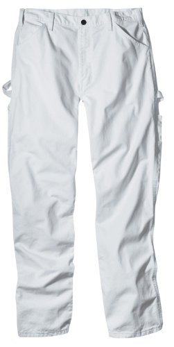 Dickies Industrial Wear 1953 36W by 34L Men's Relaxed Fit Cotton Utility Painters Pants, White - White Slacks
