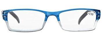Eyekepper 4 Paia Occhiali da Lettura Presbiopia Cerniere a Molla Uomo Donna Montatura Rettangolare Blu Lenti Trasparenti Diottria 0.50